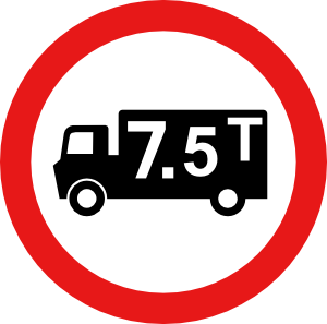 lorry weight limit road sign