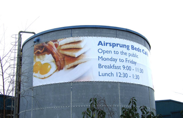Airsprung Beds Cafe advertising banner