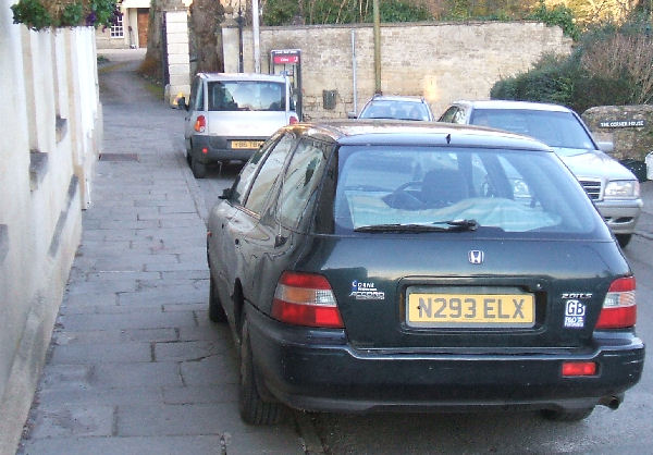 Car parked on the pavement in Freshford