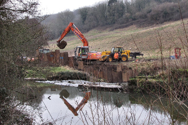 work on Archimedean screw turbine at Freshford Mill
